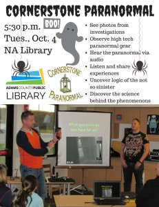Cornerstone Paranormal @ North Adams Library | Seaman | Ohio | United States