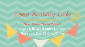 Teens: Noise Makers @ West Union Library | West Union | Ohio | United States