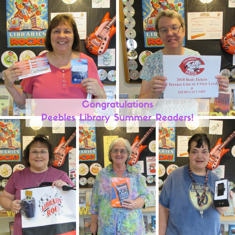 2018 Peebles Library Summer Reading Grand Prize Winners