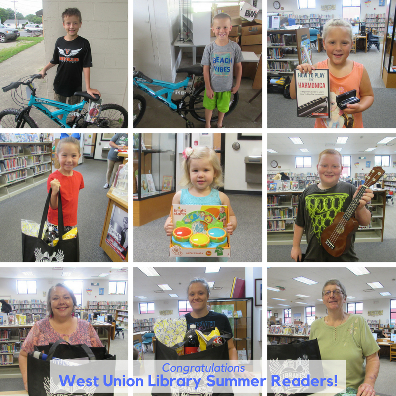 2018 West Union Library Summer Reading Grand Prize Winners