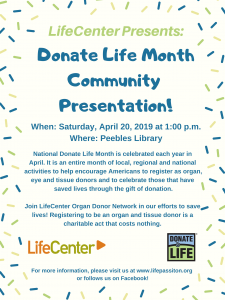 LifeCenter Donate Life @ Peebles Library